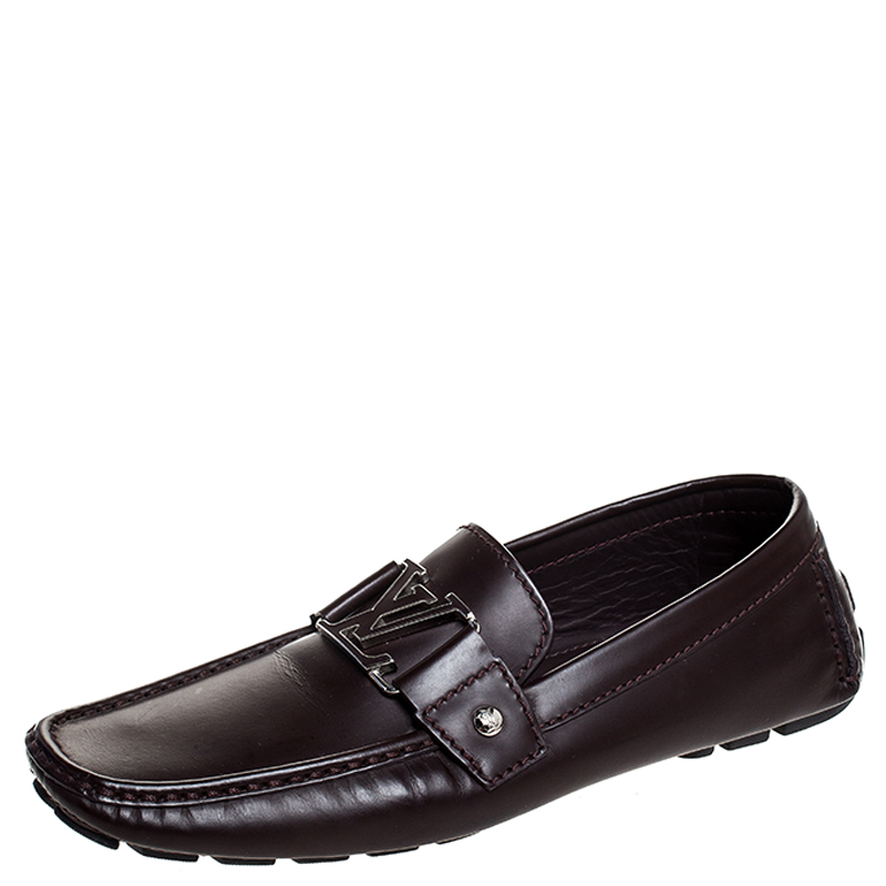 Louis Vuitton Burgundy Leather Monte Carlo Loafers Size 41