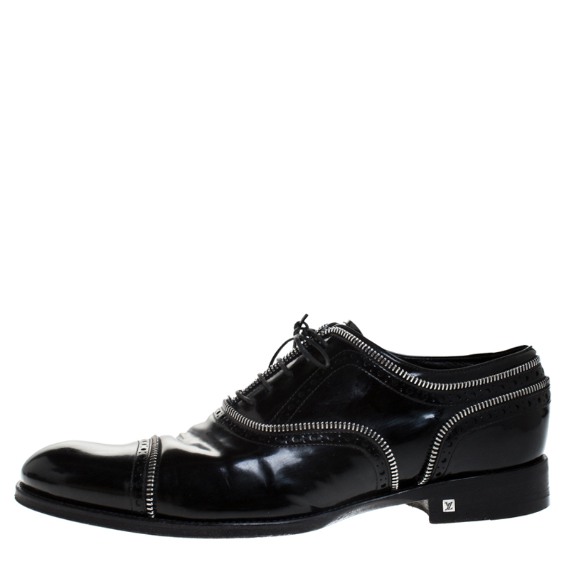 Louis Vuitton Black Patent Leather Lace Up Oxfords Size 41.5  - buy with discount