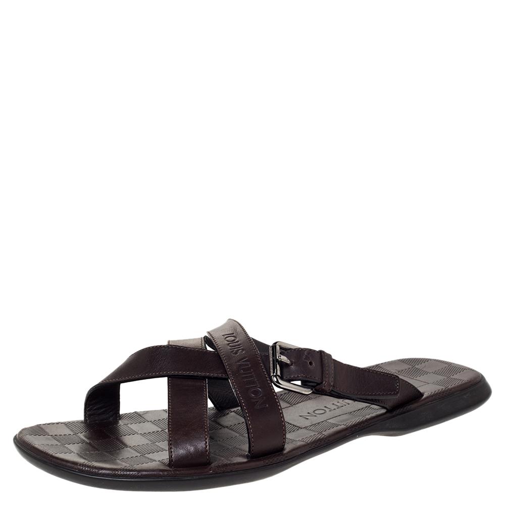 Louis Vuitton Brown Leather Cross Strap Flat Slides Size 41