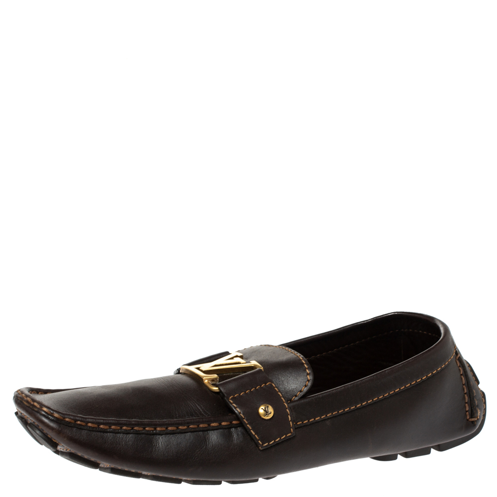 Louis Vuitton Brown Leather Monte Carlo Loafers Size 43.5