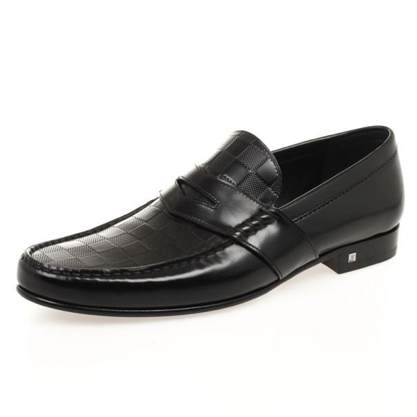 d25d5380b5be ... Louis Vuitton Black Damier Embossed Santiago Loafers Size 42.5.  nextprev. prevnext
