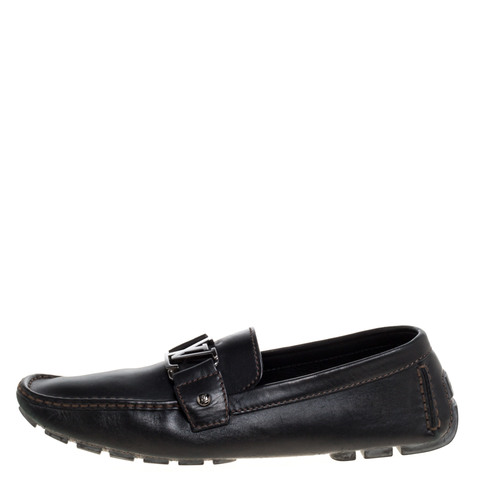 Louis Vuitton Black Leather Monte Carlo Loafers Size 43.5  - buy with discount