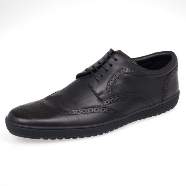 Louis Vuitton Black Leather Brogue Lace Up Shoes Size 41