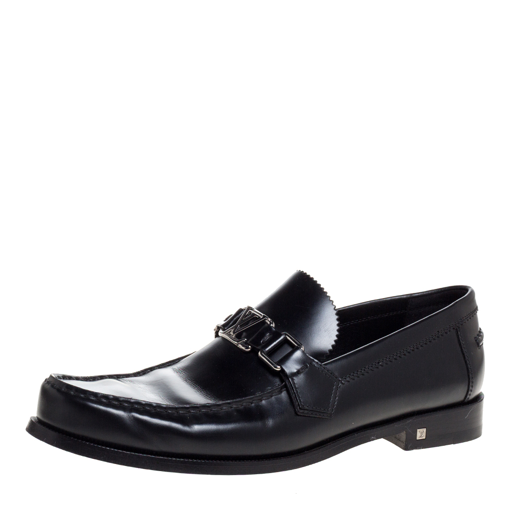Pre-owned Louis Vuitton Black Leather Major Slip On Loafers Size 41.5