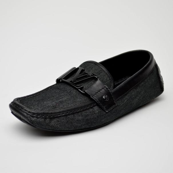 5fa48b2fda8a ... Louis Vuitton Black Monte Carlo Loafers In Denim Canvas Size 39.  nextprev. prevnext