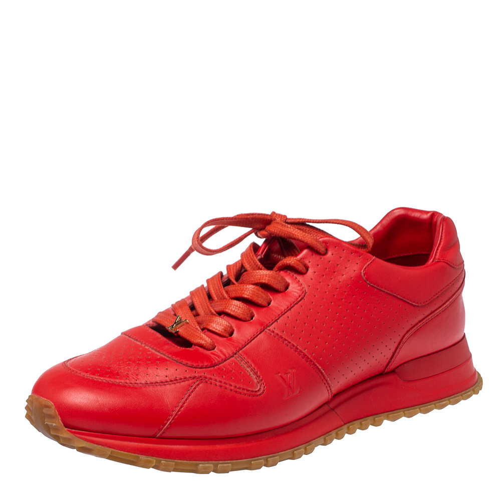 Pre-owned Louis Vuitton X Supreme Red Leather Run Away Lace Up Sneakers Size 42.5