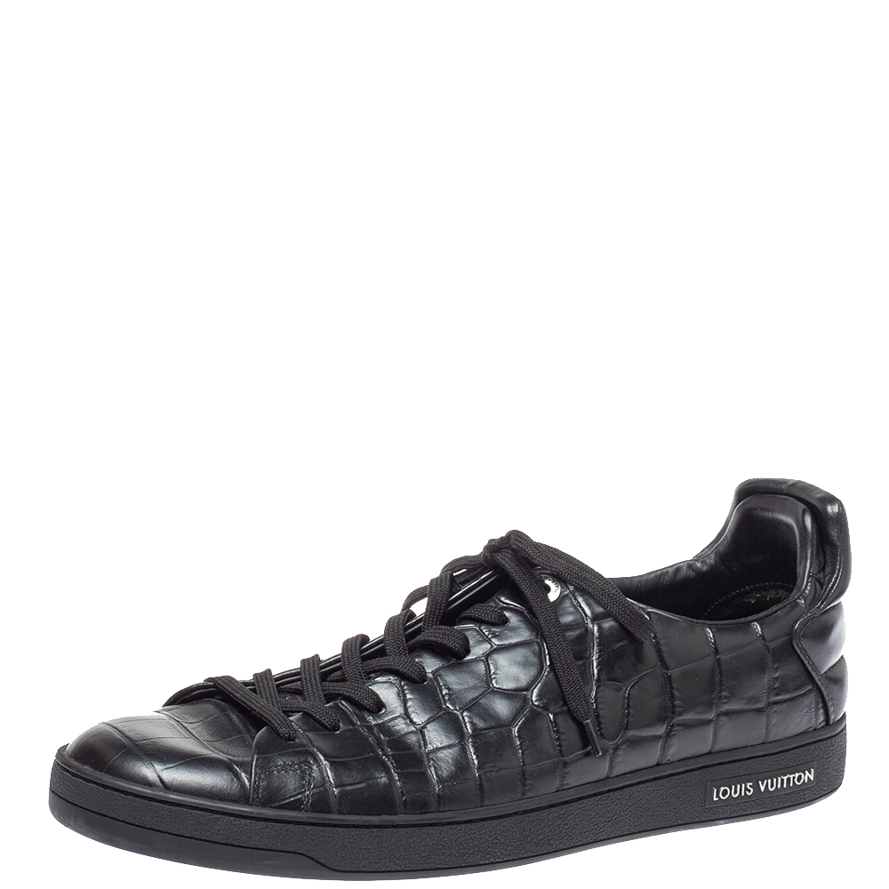 Louis Vuitton Black Crocodile Embossed Leather Frontrow Sneakers Size 43