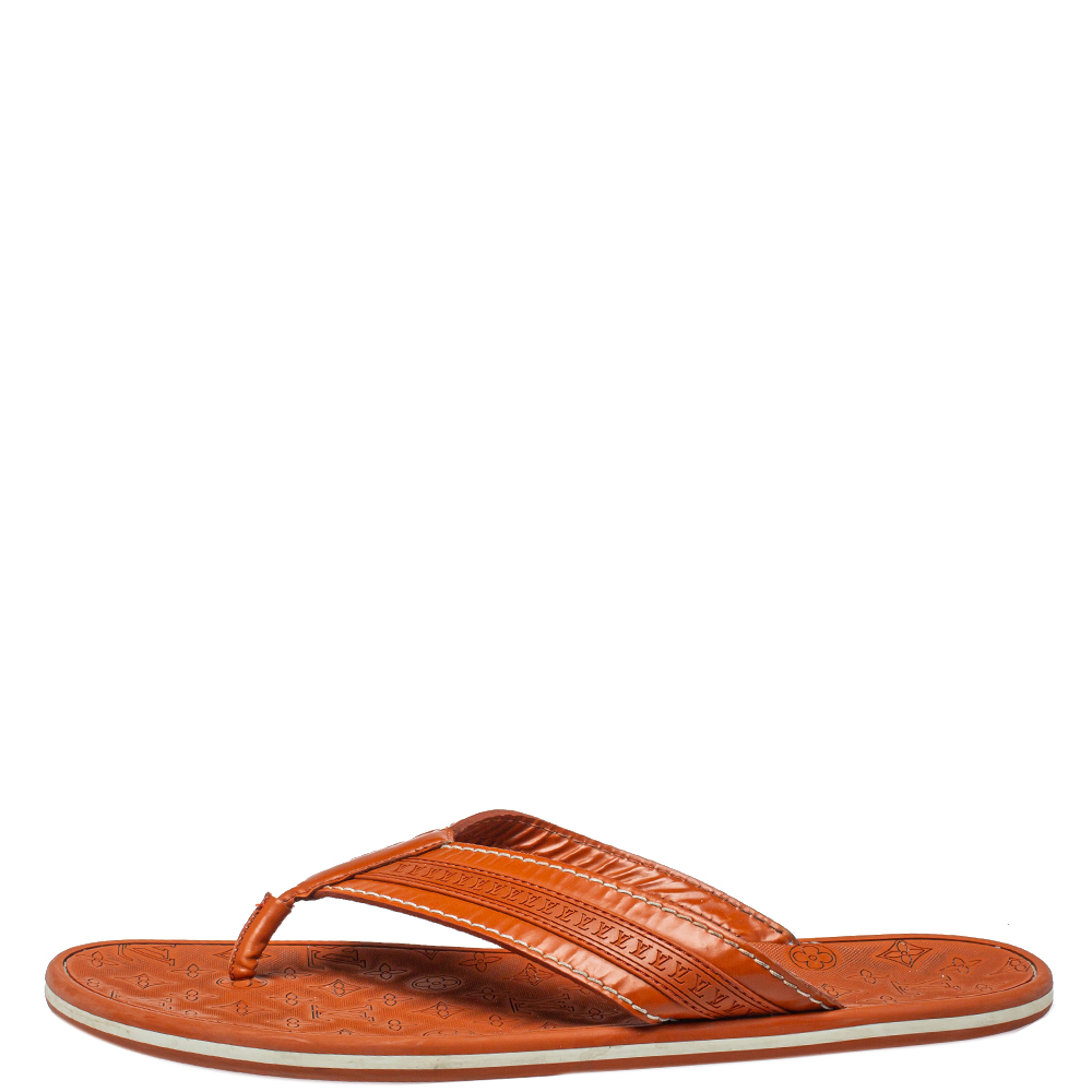 Louis Vuitton Orange Leather And Rubber Ipanema Thong Flats Size 45  - buy with discount