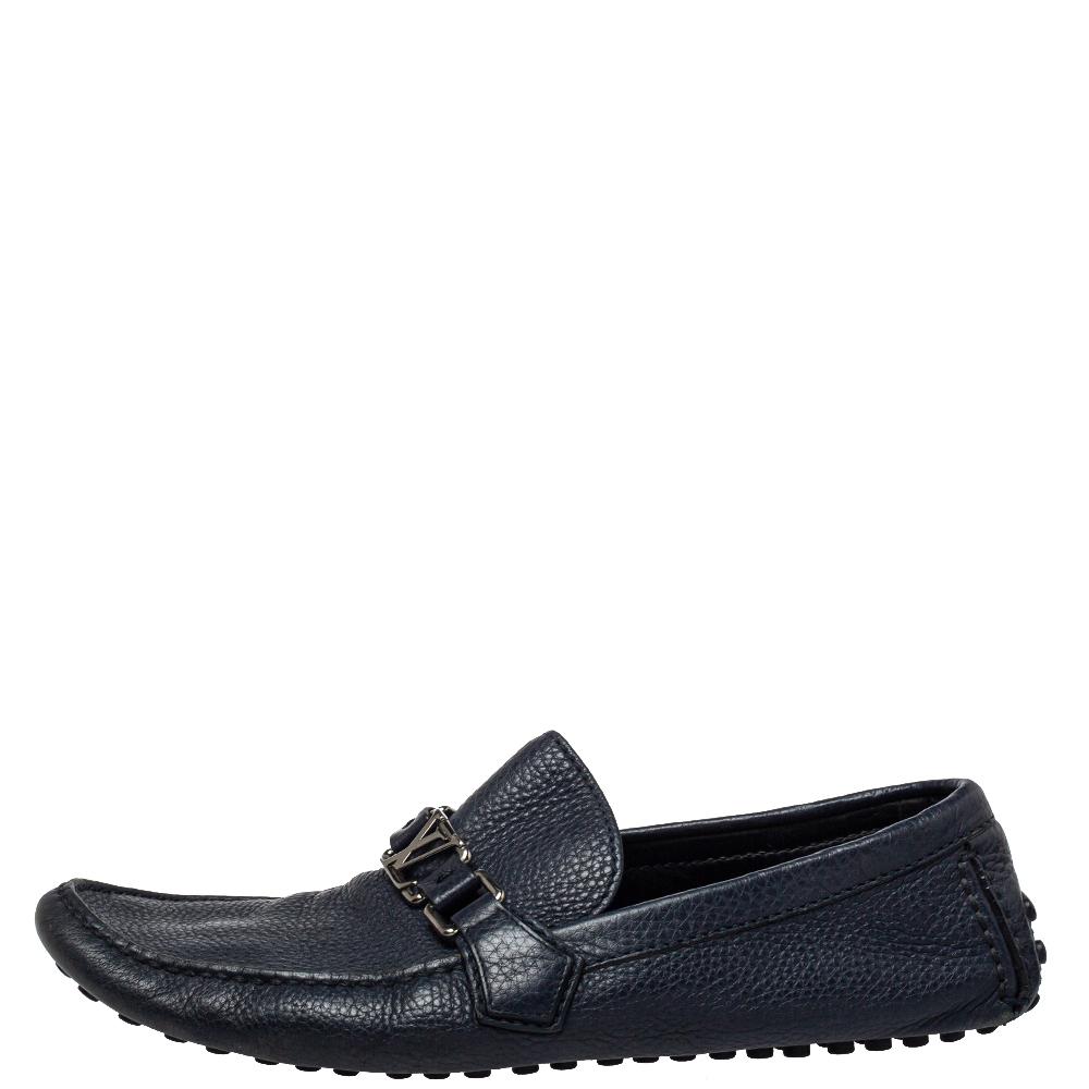 Louis Vuitton Blue Textured Leather Hockenheim Moccasins Size 43