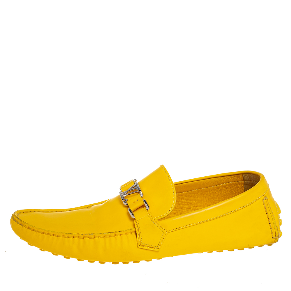Louis Vuitton Yellow Leather Slip On Loafers Size 43.5