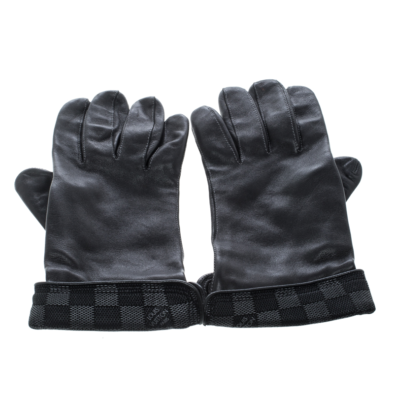500303a80d63 Louis Vuitton Black Leather Damier Graphite Print Gloves L. nextprev.  prevnext