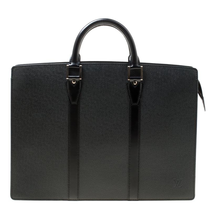 Louis Vuitton Black Taiga Leather Lozan Briefcase
