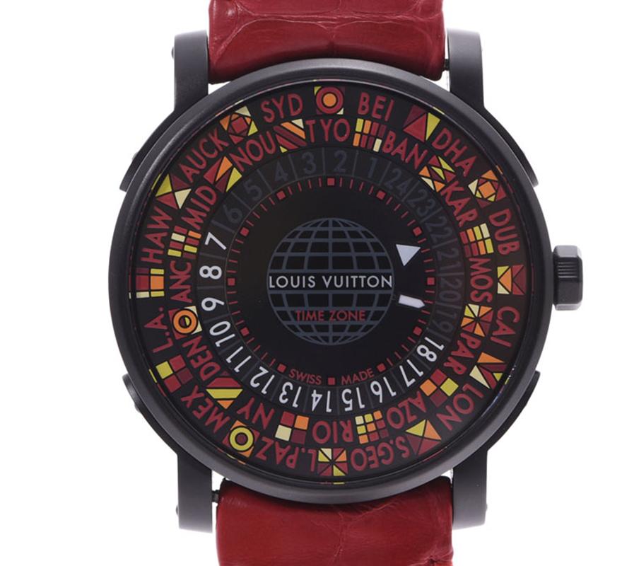 Louis Vuitton Nero, Acciaio Inossidabile e Pelle Escale fuso Orario Q5D230 Uomini Orologio da polso da 39MM