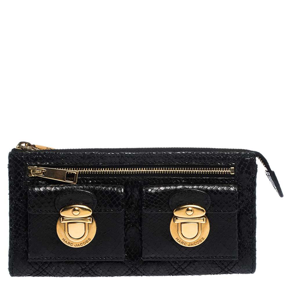 MARC JACOBS BLACK PYTHON EMBOSSED LEATHER DOUBLE POCKET ZIP WALLET