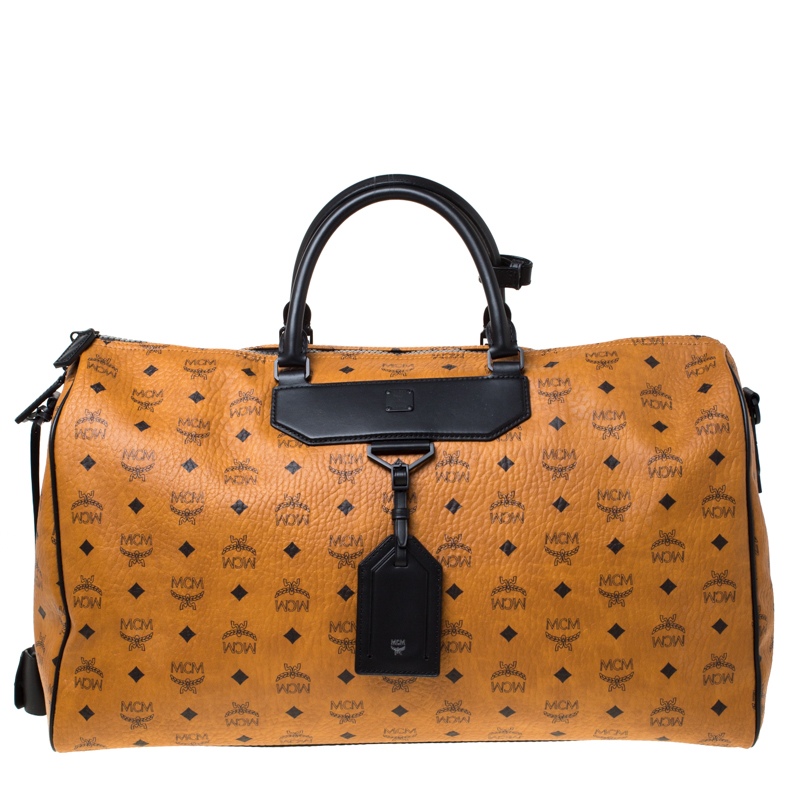 MCM Cognac/Black Visetos Leather Nomad Weekender Duffel Bag