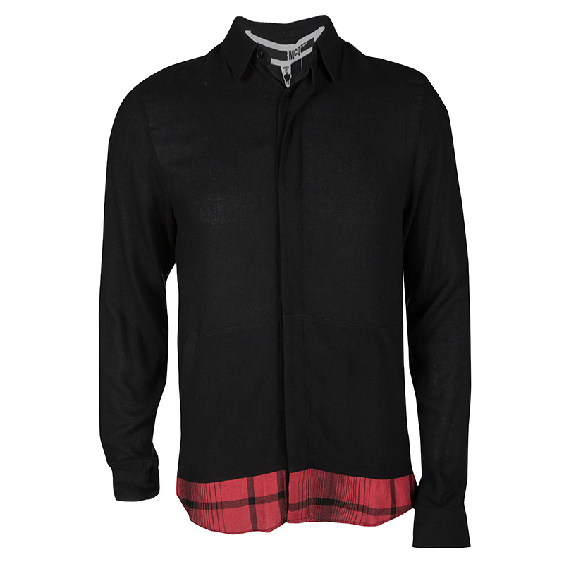 McQ by Alexander McQueen Black Contrast Hem Long Sleeve Shirt S