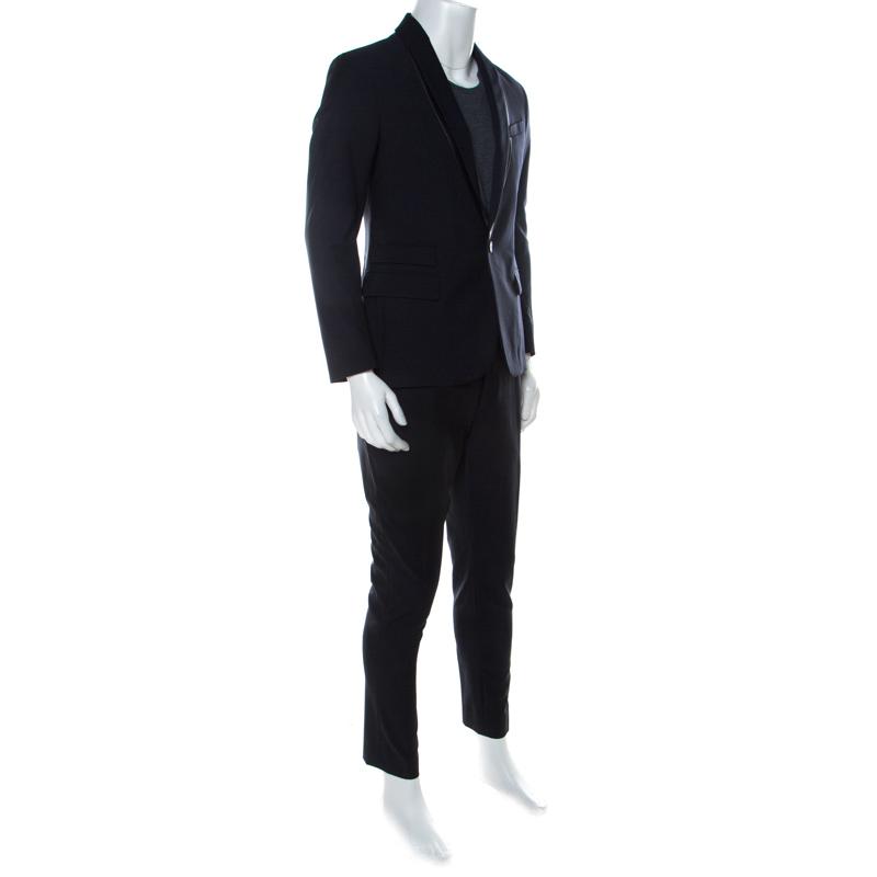 McQ by Alexander McQueen Navy Blue Twill Slim Fit Tuxedo Suit M