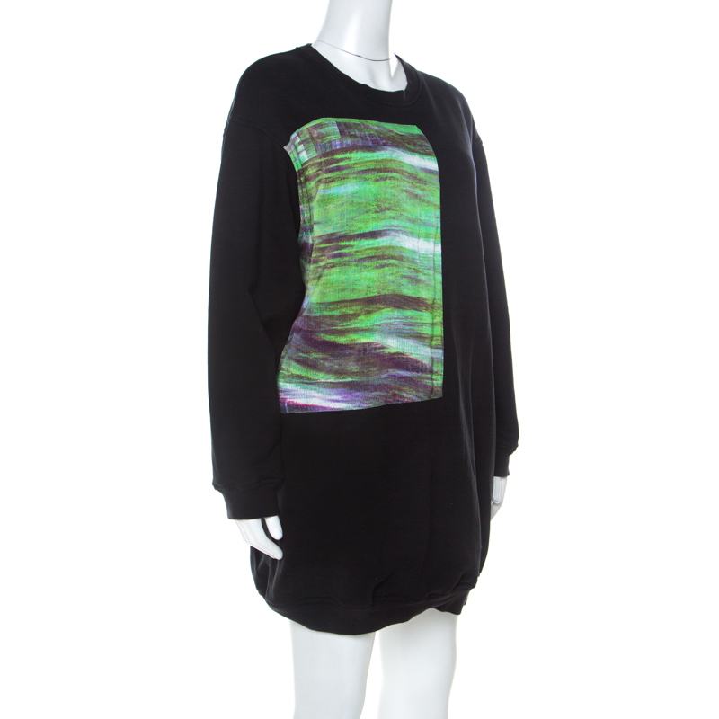 McQ by Alexander McQueen Black Abstract Print Cotton Sweatshirt Dress