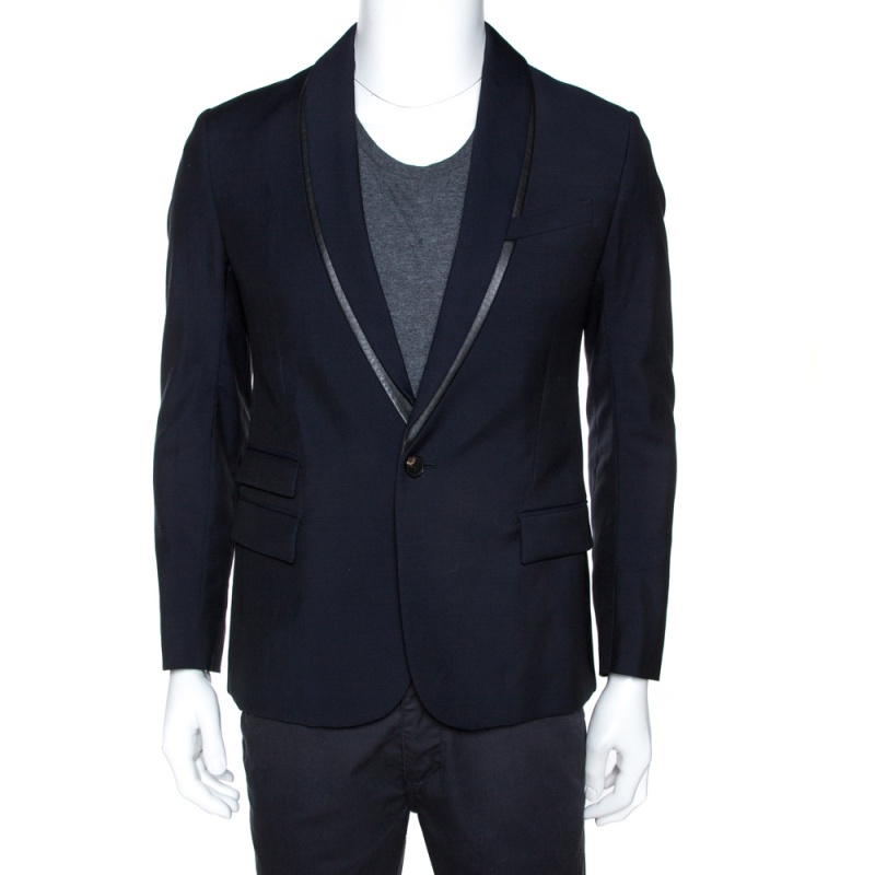 McQ by Alexander McQueen Navy Blue Twill Slim Fit Tuxedo Jacket M
