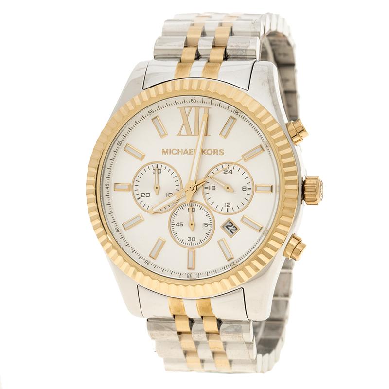 ساعة يد رجالية مايكل كورس ليكسنغتنون MK8344 ستانلس ستيل ثنائي اللون فضية بيضاء 45مم