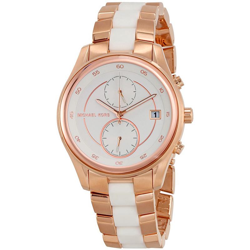 ساعة يد رجالية مايكل كورس بريار MK6467  ستيل مطلي ذهب وردي بيضاء 40 مم