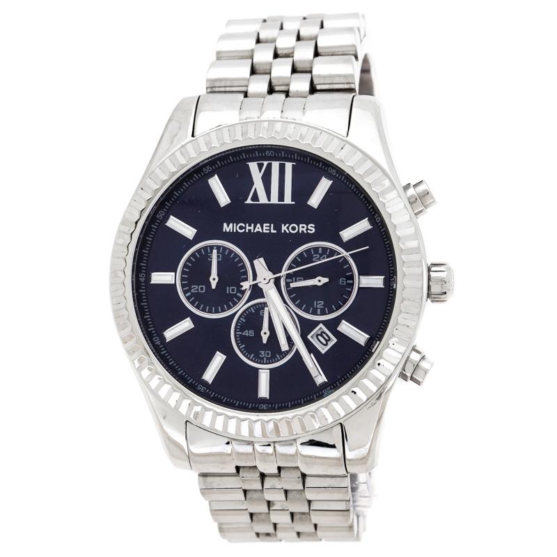 ساعة يد رجالية مايكل كورس ليكسيغتون MK8280 ستانلس ستيل زرقاء كحلية 45 مم