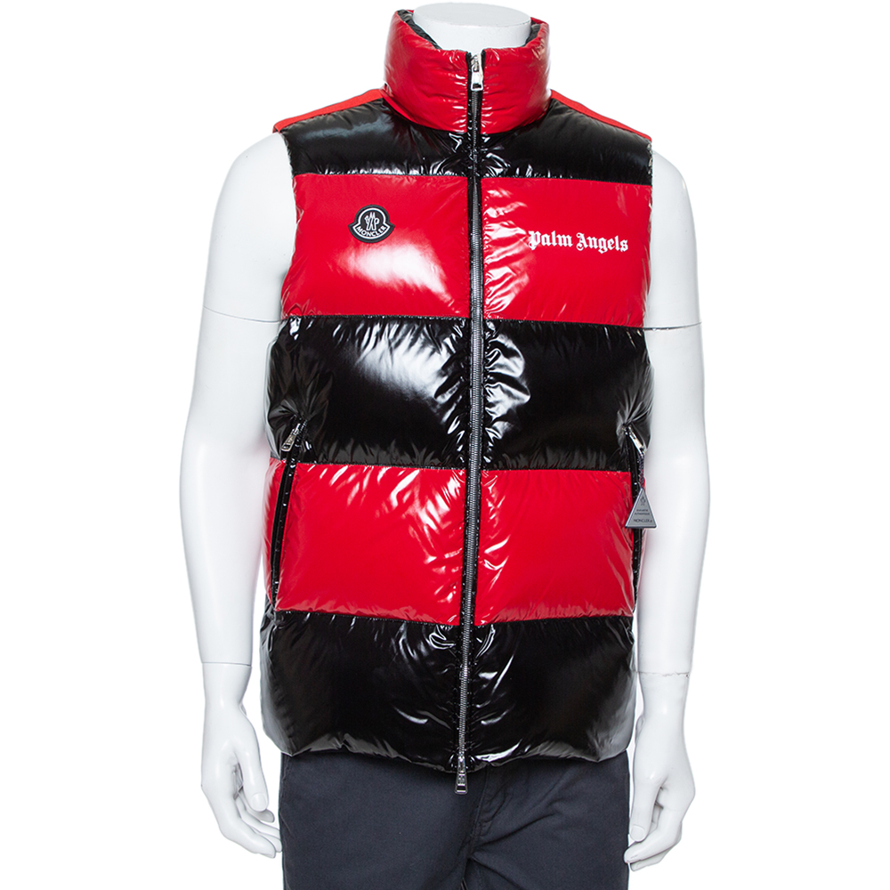 Moncler X Palm Angels Red & Black Synthetic Goose Down Filled Puffer Jacket S