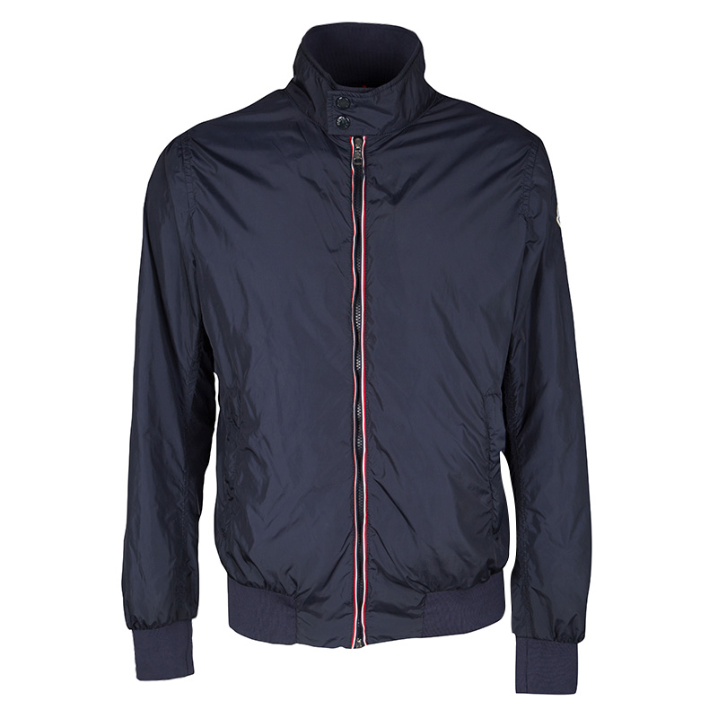 84d97697b3d2 Buy Moncler Navy Blue Contrast Trim Zip Front Darlan Windbreaker ...
