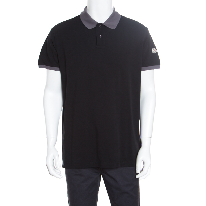 48a597f70 Buy Moncler Black Contrast Trim Detail Honeycomb Knit Polo T-Shirt ...