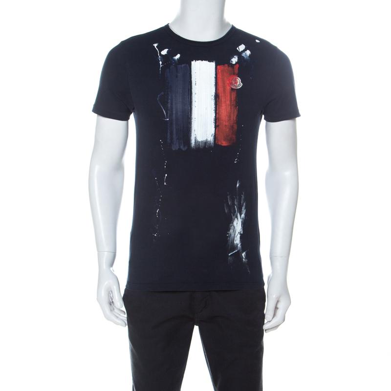 Moncler Navy Blue Hand Painted Flag Print Cotton T-Shirt M