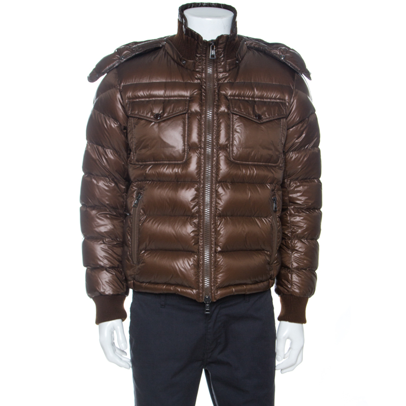 Moncler Brown Quilted Down Zip Front Puffer Jacket M