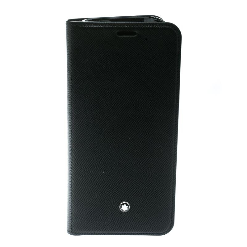 free shipping 5b8de 63ab8 Montblanc Black Leather Flipside Samsung S8 Edge Plus Case