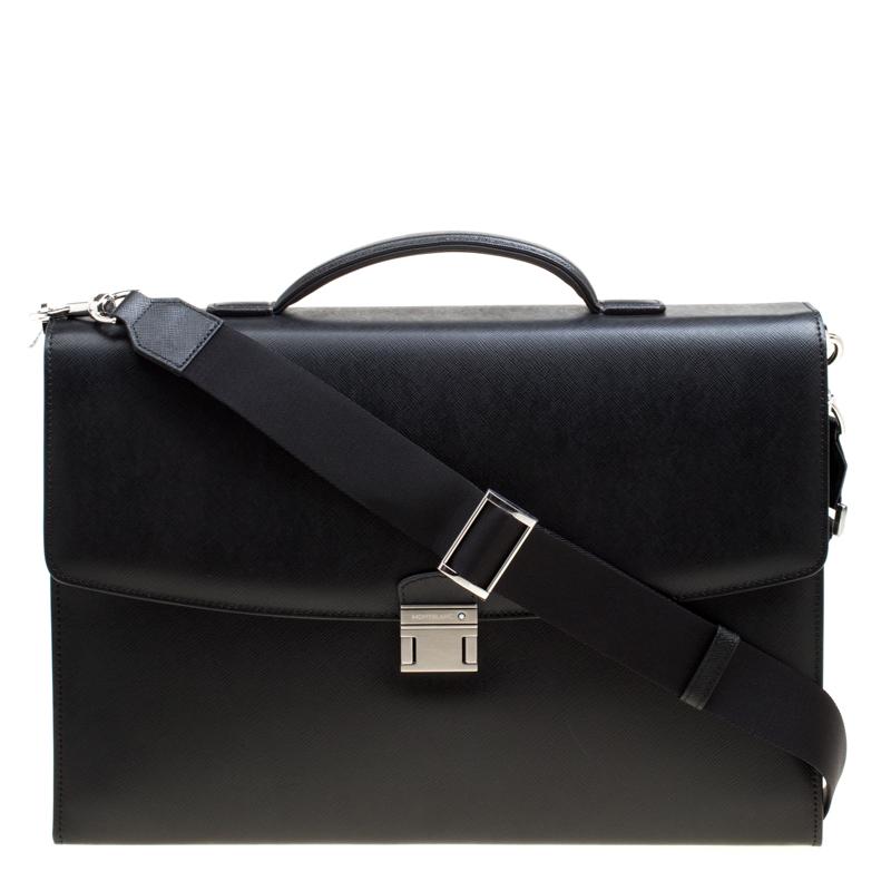 8d38e3a2d9 Buy Montblanc Black Leather Sartorial Single Gusset Briefcase 167196 ...