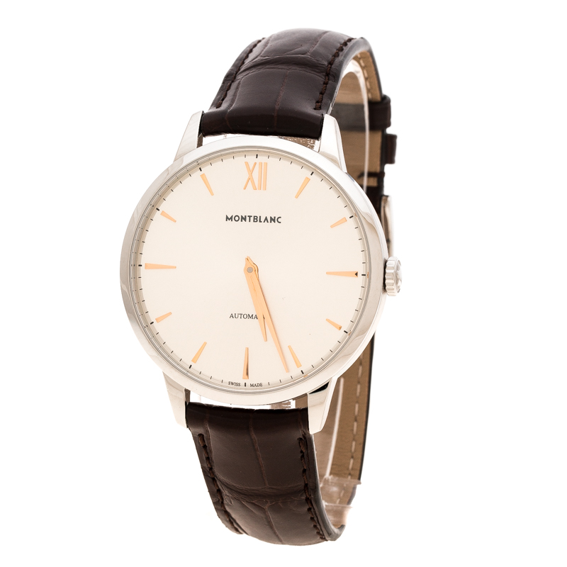Montblanc Silver White Stainless Steel Heritage Spirit 7299 Men's Wristwatch 41 mm