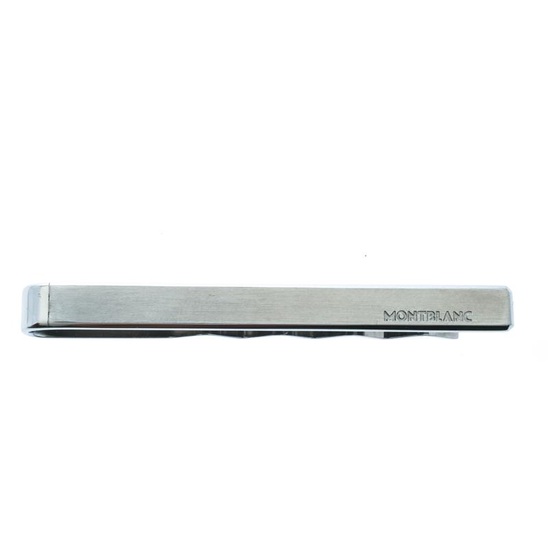 Montblanc Logo Engraved Brushed Stainless Steel Tie Bar