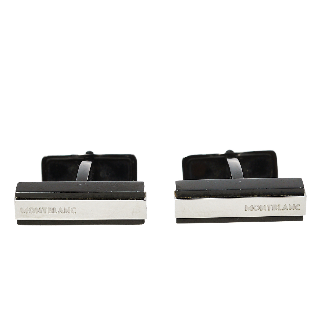 Pre-owned Montblanc Iconic Black Pvd Steel Cufflinks