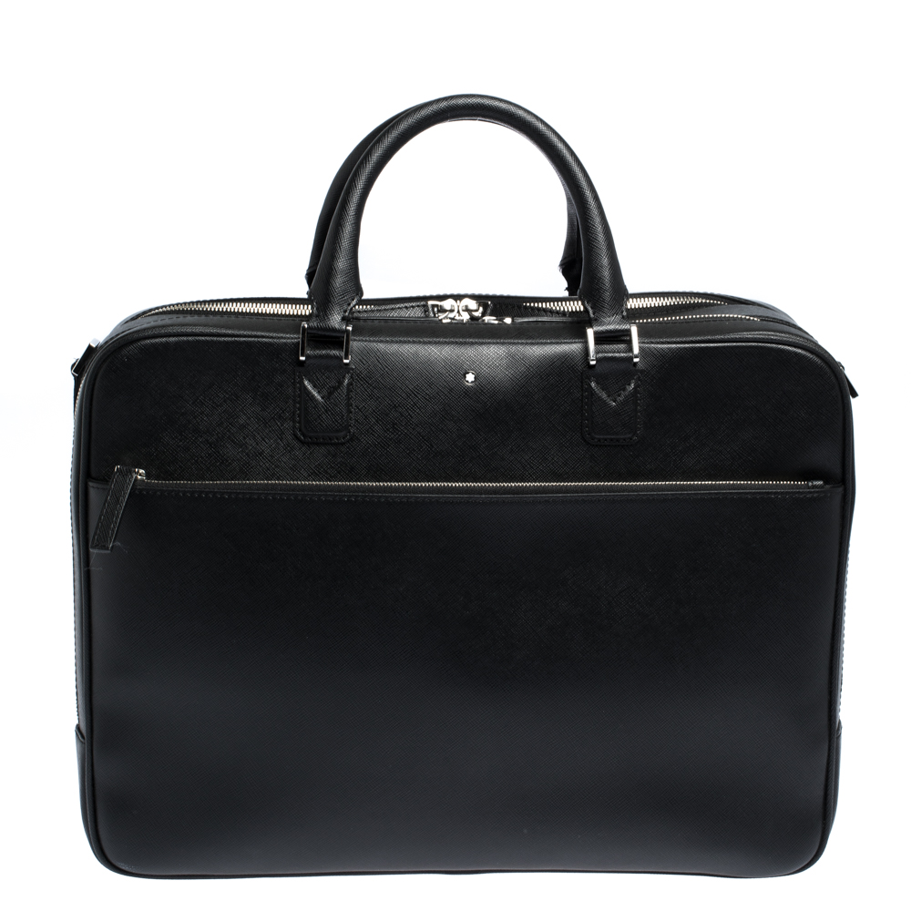 Montblanc Black Leather Sartorial Double Zip Briefcase