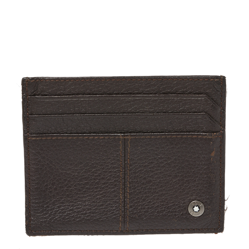 Pre-owned Montblanc Dark Brown Leather Card Holder