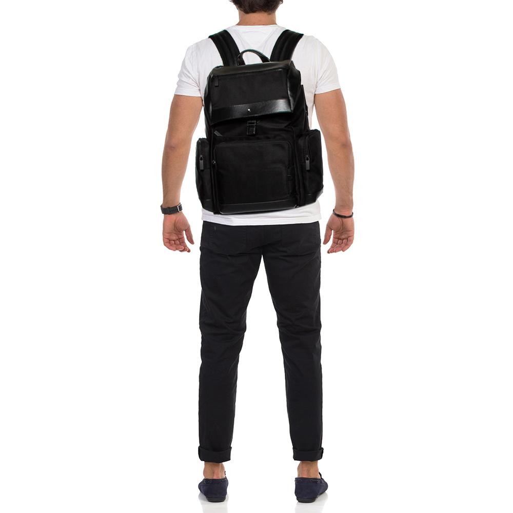 Montblanc Black Nylon and Leather Large Nightflight Backpack