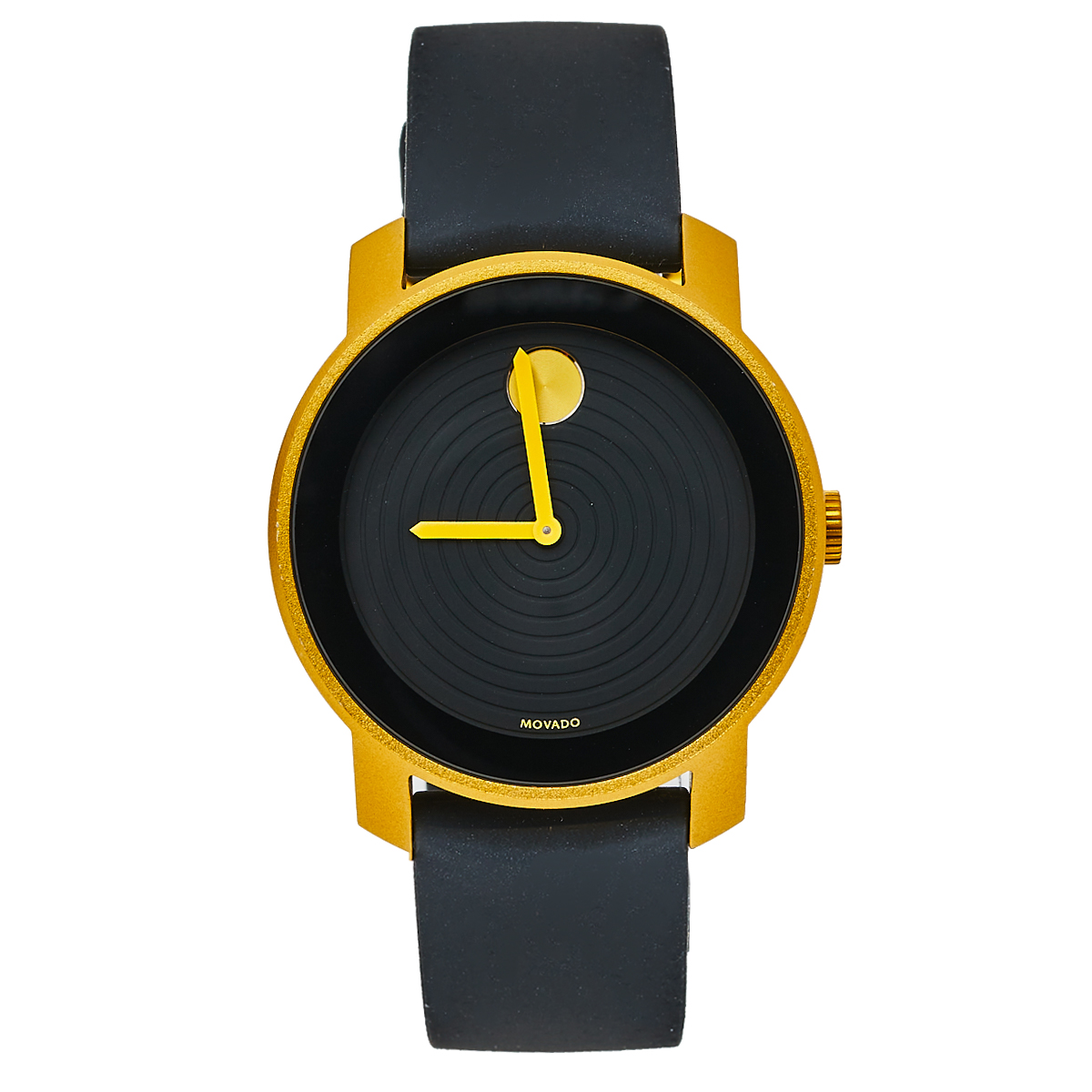 MOVADO BLACK YELLOW GOLD PVD COATED ALUMINIUM RUBBER BOLD MB.01.1.22.6073 MEN'S WRISTWATCH 44 MM