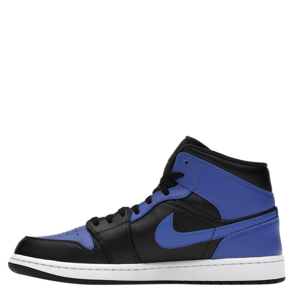 Nike Jordan 1 Mid Hyper Royal Tumbled Leather Sneakers Size EU 42.5 US 9