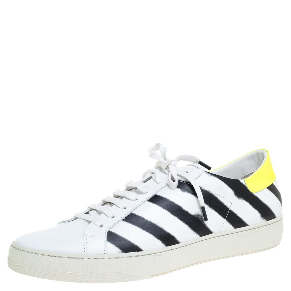 Off White White Leather Diagonal Spray Low Top Sneakers Size 45