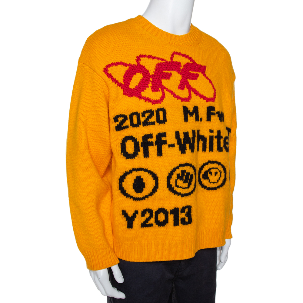 Off-White Yellow Bonded Knit Crew Neck Sweater M  - buy with discount