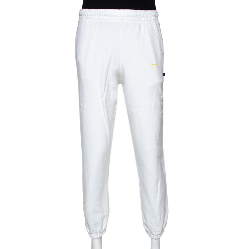 Off White White Cotton Yellow Logo Print Track Pants L