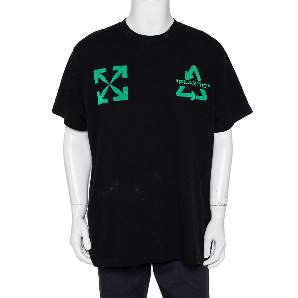 Pre-owned Off-white Black Cotton Universal Key Embroidered Crewneck Oversized T-shirt S