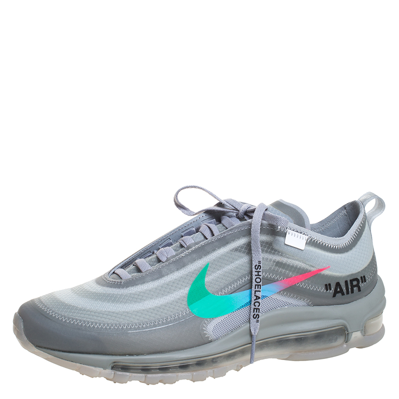 Nike x Off White Grey Rubber/Mesh Air Max 97 Low Top Sneakers Size 42