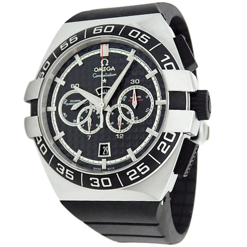 ac077f0d7123 ... Omega Black Stainless Steel Constellation Double Eagle Men s Wristwatch  44MM. nextprev. prevnext