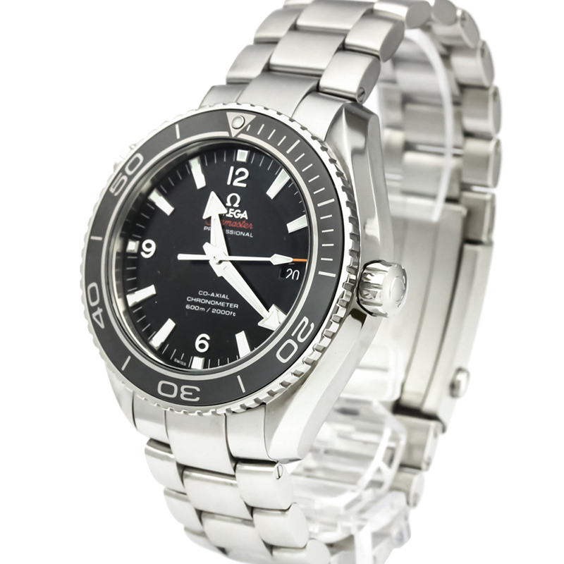 Omega Black Stainless Steel Seamaster Planet Ocean Co Axial Men S Wristwatch 45 5mm