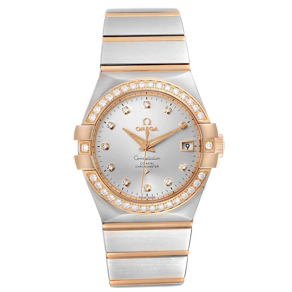 OMEGA SILVER DIAMONDS 18K ROSE GOLD AND STAINLESS STEEL CONSTELLATION 123.25.35.20.52.001 MEN'S WRISTWATCH