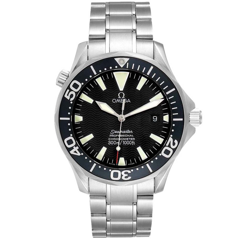 Pre-owned Omega Black Stainless Steel Seamaster 2254.50.00 300m Men's Wristwatch 41mm